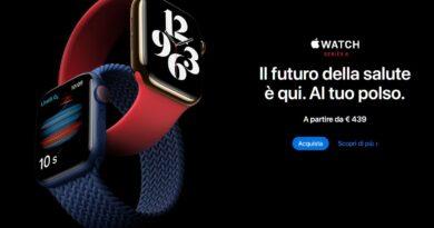 Novità Apple Watch Series 6 (GPS + Cellular, 40 mm) Cassa in alluminio azzurro con Cinturino Sport deep navy